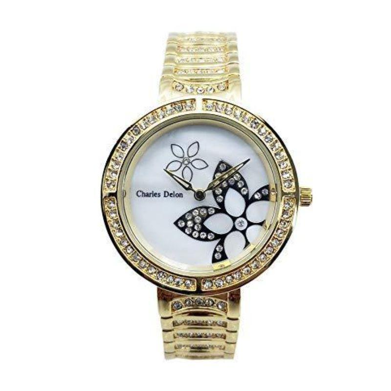 Charles Delon Women's Watches 5757 LGMW Gold and White Stainless Steel Quartz Floral Watch-