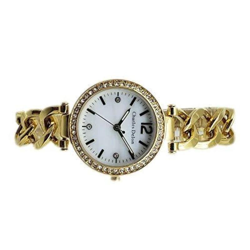 Charles Delon Women's Watches 5773 LGMW Gold and Pearl Stainless Steel Quartz Round-