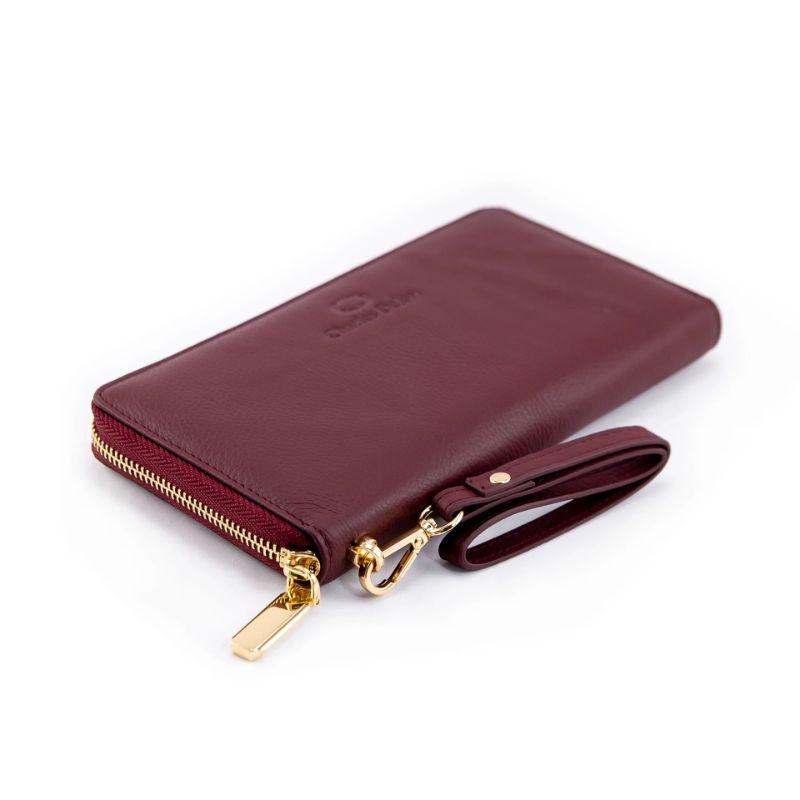 Charles Delon Women's Zip-Around Black or Burgundy Wallet with Removable Wrist Strap-Burgundy-