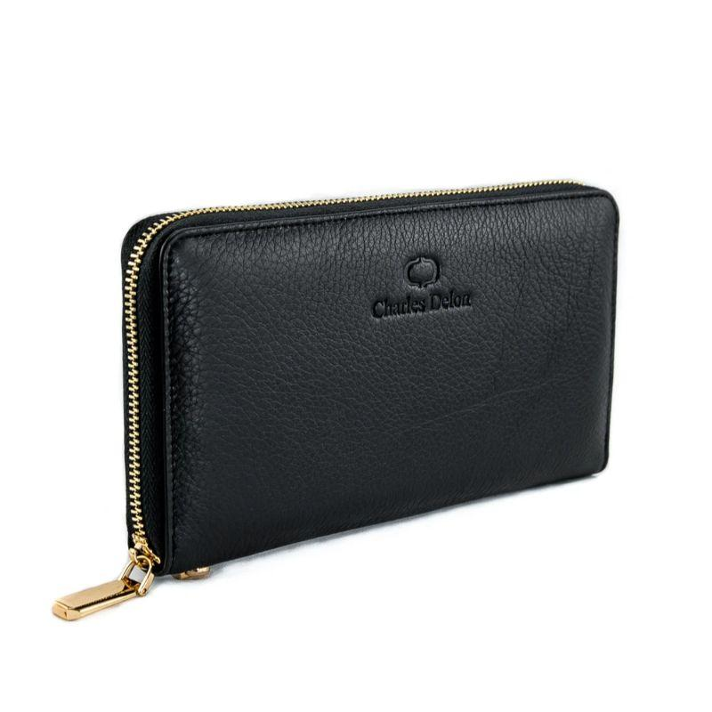 Charles Delon Women's Zip-Around Black or Burgundy Wallet with Removable Wrist Strap-Black-
