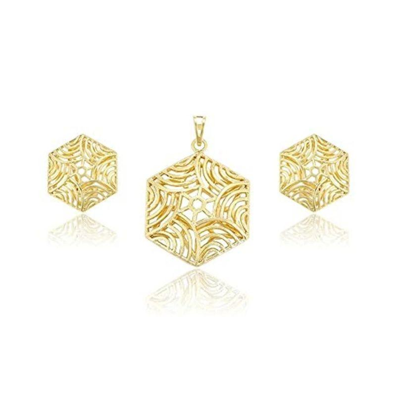 Charles Delon Yellow Gold Hexagon Waves Pendant and Matching Earrings-