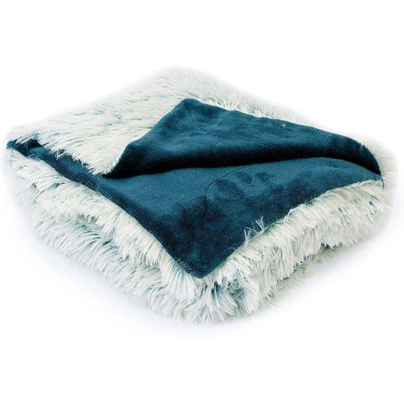 "Cheer Collection Reversible Soft Fur Fuzzy Throw Blanket - 50"" x 60"" inches-Blue-"