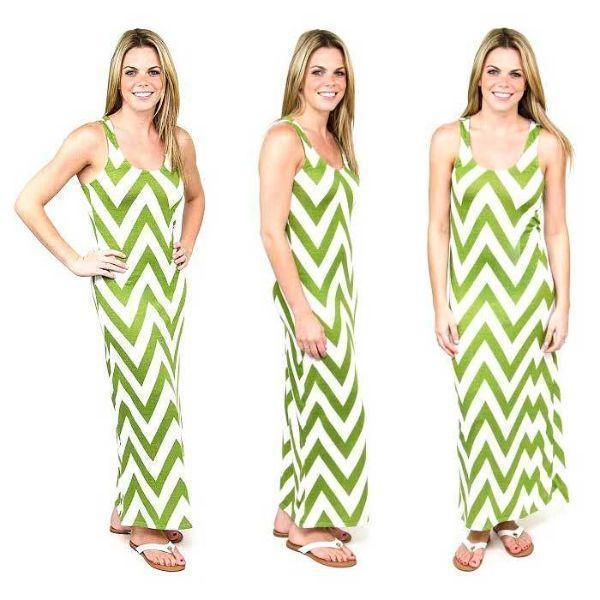 Daily Steals-Chevron Racerback Maxi Dress-Women's Apparel-Green/White-Large-