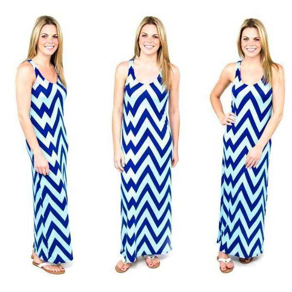 Daily Steals-Chevron Racerback Maxi Dress-Women's Apparel-Navy/Sky-Large-