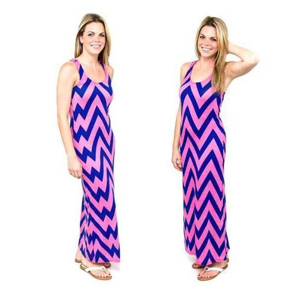 Daily Steals-Chevron Racerback Maxi Dress-Women's Apparel-Pink/Navy-Large-