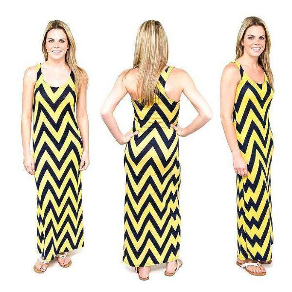 Daily Steals-Chevron Racerback Maxi Dress-Women's Apparel-Yellow/Navy-Large-