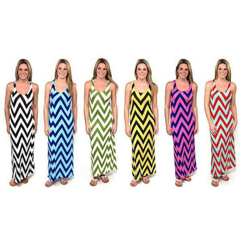 Daily Steals-Chevron Racerback Maxi Dress-Women's Apparel-Black/White-Large-