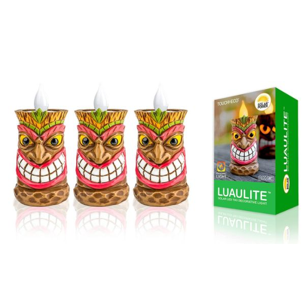 Touch Of ECO Solar LED Tiki Statue Decoración Luces - 1, 2 o 3 Pack-3 Pack-Chief-Daily Steals