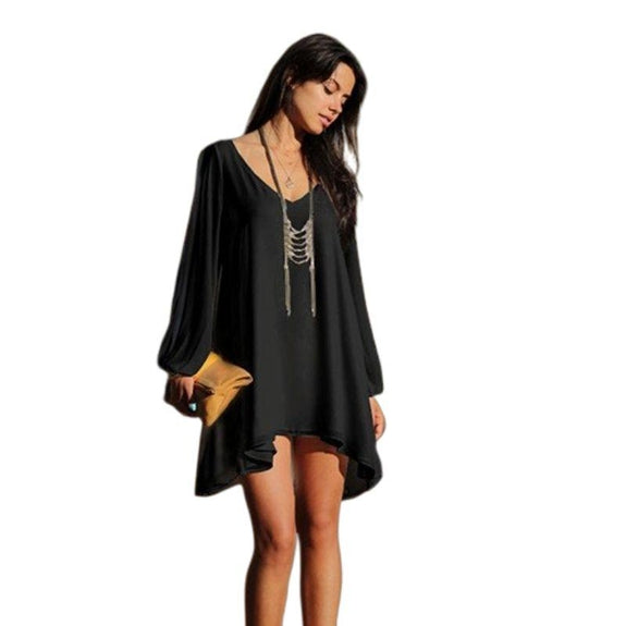 Chiffon Tunic with Slit Sleeves-Black-Small-Daily Steals
