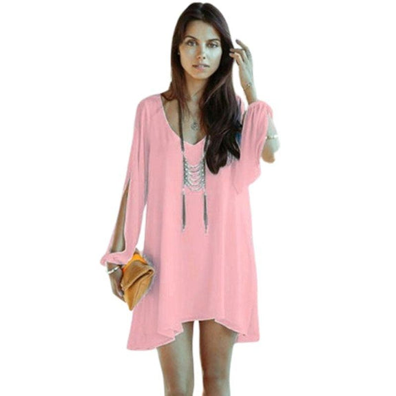 Chiffon Tunic with Slit Sleeves-Pink-Small-Daily Steals