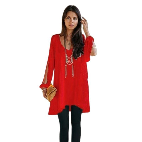 Chiffon Tunic with Slit Sleeves-Red-Small-Daily Steals