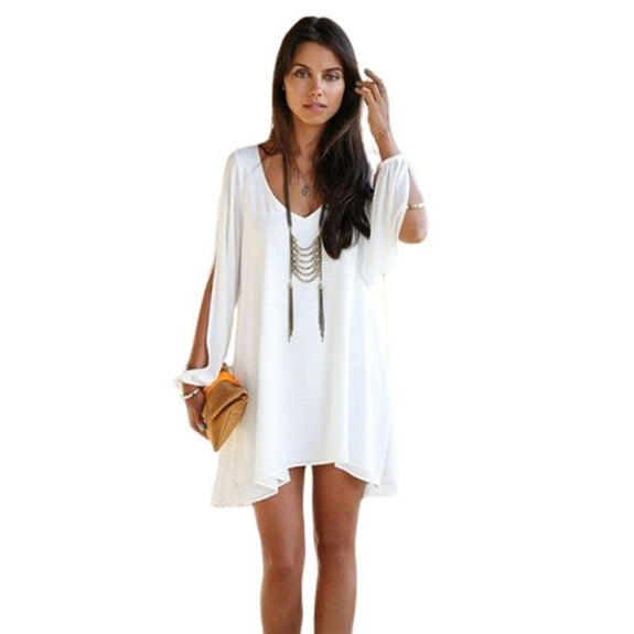 Chiffon Tunic with Slit Sleeves-White-Small-Daily Steals