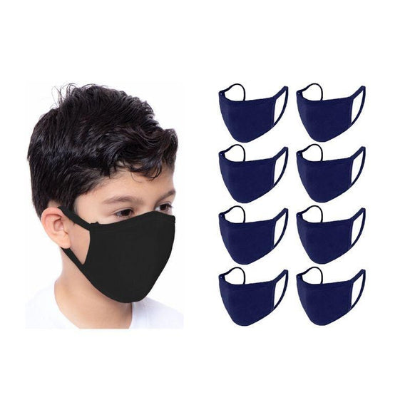 Children's Reusable 2-Ply Fabric Face Masks 100% Cotton - Multi Pack-Navy-8 Pack-