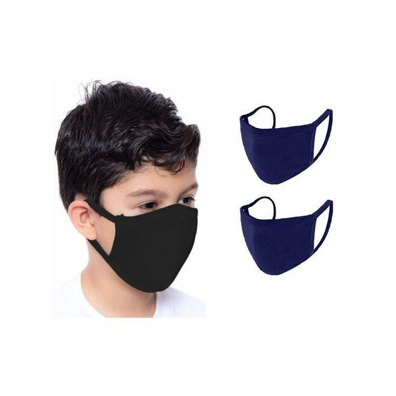 Children's Reusable 2-Ply Fabric Face Masks 100% Cotton - Multi Pack-Navy-2 Pack-