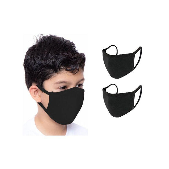 Children's Reusable 2-Ply Fabric Face Masks 100% Cotton - Multi Pack-Black-2 Pack-