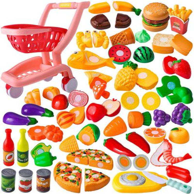 Childrens Food Toy Pretend Play Shopping Cart Playset