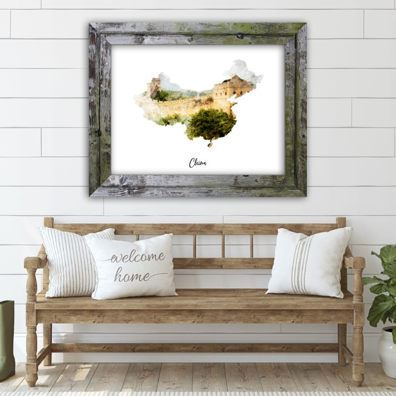 "China Watercolor Map Print - Unframed Art Print-7""x5""-Horizontal/Landscape-Daily Steals"