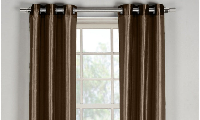 "Daily Steals-Bali Faux Silk Grommet Window Panel Pairs-Home and Office Essentials-Chocolate - 38"" x 84""-"