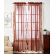 Linda Sheer Voile Curtain Panels - Various Colors - 4-Pack-CHOCOLATE-Daily Steals