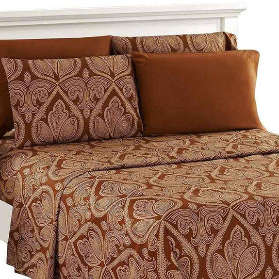 Paisley Printed Deep Pocket Bed Sheet Set - 6 Piece-CHOCOLATE-Full-Daily Steals