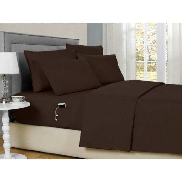 Bamboo 2000 6-Piece Smart Sheets Set with Storage Pocket-Chocolate-Queen-Daily Steals