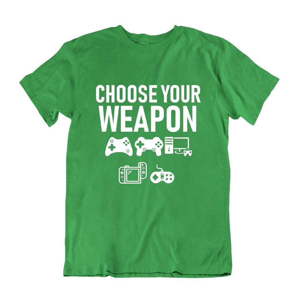 "Daily Steals-""Choose Your Weapon"" Funny Gaming T Shirt-Men's Apparel-Kelly Green-S-"