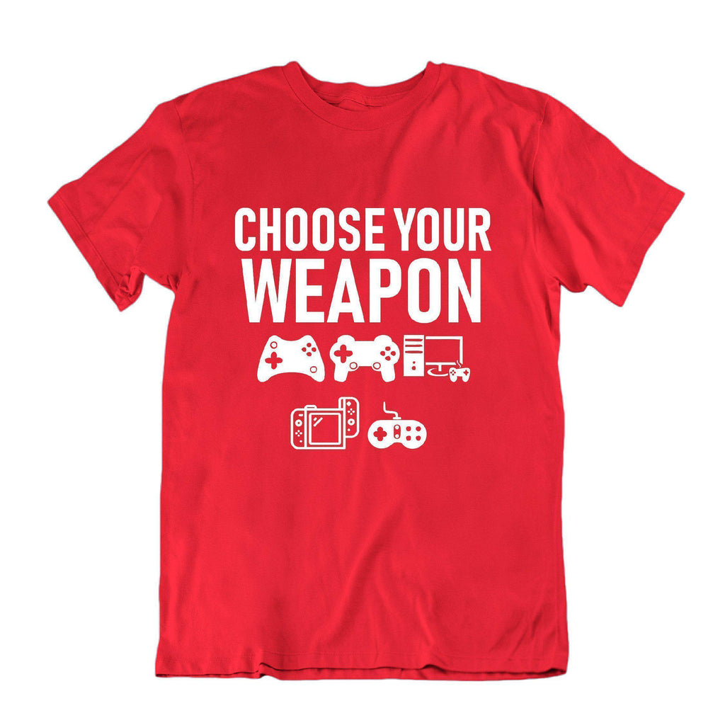 "Daily Steals-""Choose Your Weapon"" Funny Gaming T Shirt-Men's Apparel-Red-S-"