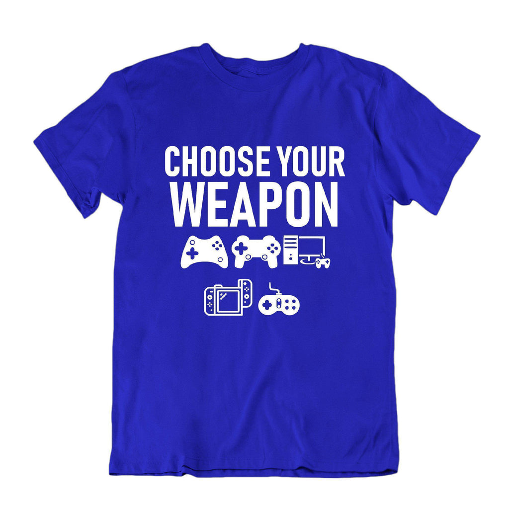 "Daily Steals-""Choose Your Weapon"" Funny Gaming T Shirt-Men's Apparel-Royal Blue-S-"