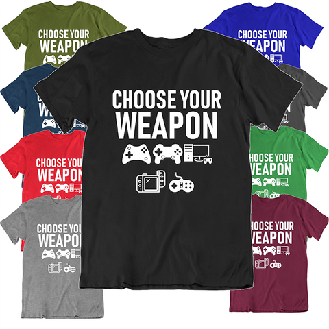 "Daily Steals-""Choose Your Weapon"" Funny Gaming T Shirt-Men's Apparel-Black-S-"