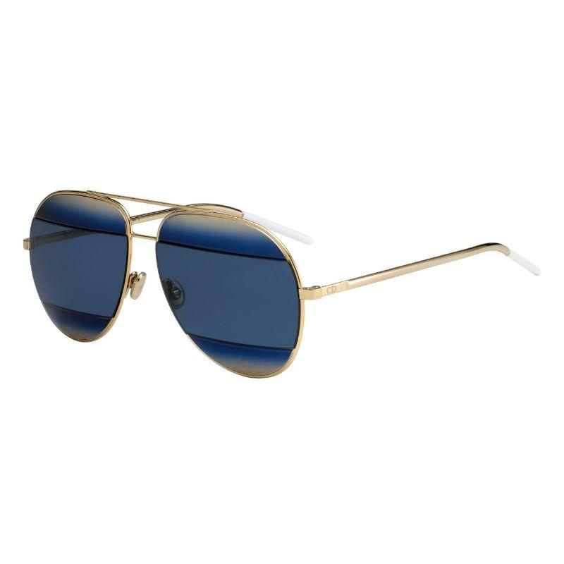 Christian Dior Unisex Split SHBLUE-GD 59mm Gold Frame Sunglasses-
