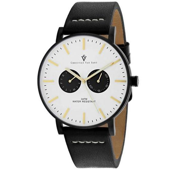 Daily Steals-Christian Van Sant Men's Relic Watch-Jewelry-Black Leather Strap With White Dial-