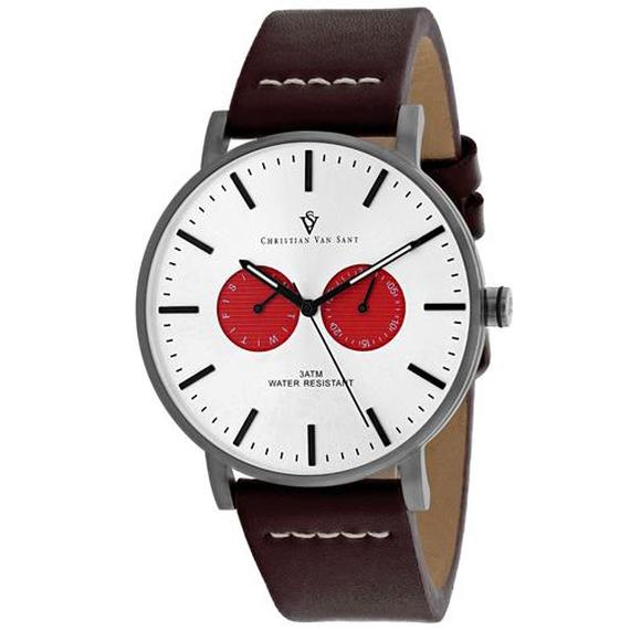 Daily Steals-Christian Van Sant Men's Relic Watch-Jewelry-Brown Leather Strap With Silver Dial-