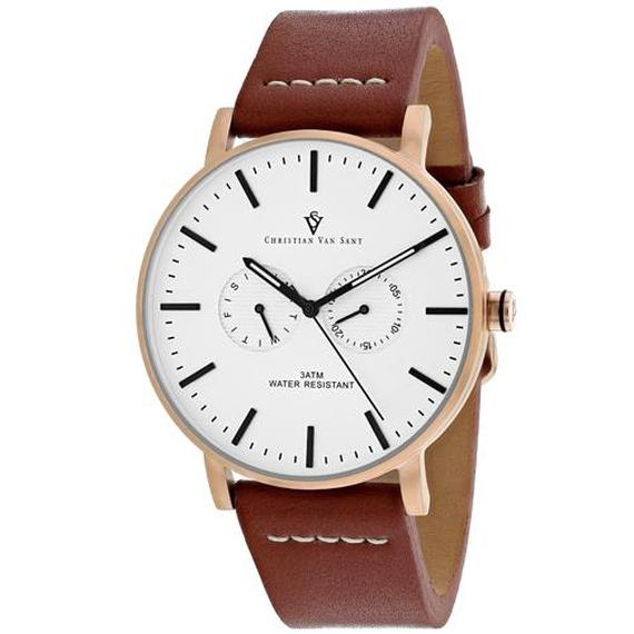 Daily Steals-Christian Van Sant Men's Relic Watch-Jewelry-Brown Leather Strap With Blue Dial-