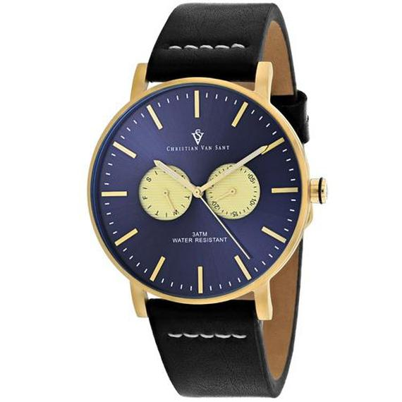 Daily Steals-Christian Van Sant Men's Relic Watch-Jewelry-Black Leather Strap With Blue Dial-
