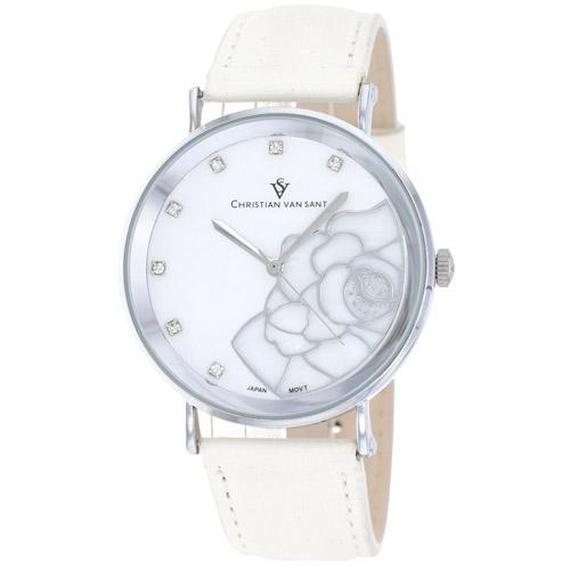 Daily Steals-Christian Van Sant Women's Fleur Watch-Jewelry-White Leather Strap with White Mother of Pearl Dial-