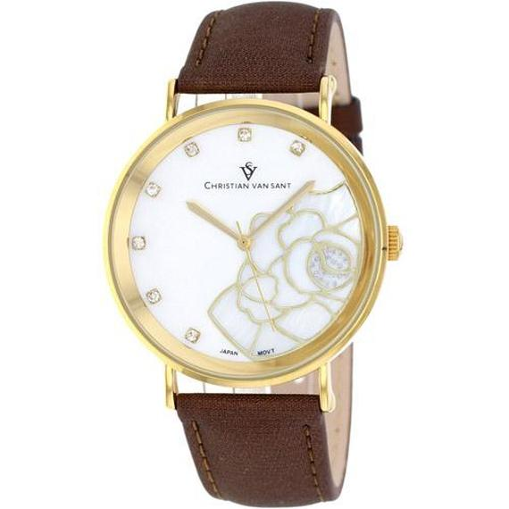 Daily Steals-Christian Van Sant Women's Fleur Watch-Jewelry-Brown Leather Strap with White Mother of Pearl Dial-