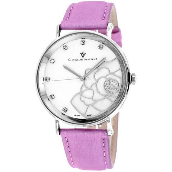 Daily Steals-Christian Van Sant Women's Fleur Watch-Jewelry-Pink Leather Strap with White Mother of Pearl Dial-
