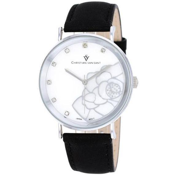 Daily Steals-Christian Van Sant Women's Fleur Watch-Jewelry-Black Leather Strap with White Mother of Pearl Dial-