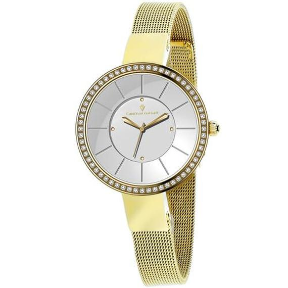 Daily Steals-Christian Van Sant Women's Reign Watch-Jewelry-Stainless Steel Gold Bracelet With Silver Dial-