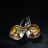 Citrine Leverback Earrings in 18K White Gold Filled with Swarovski Crystals-Daily Steals