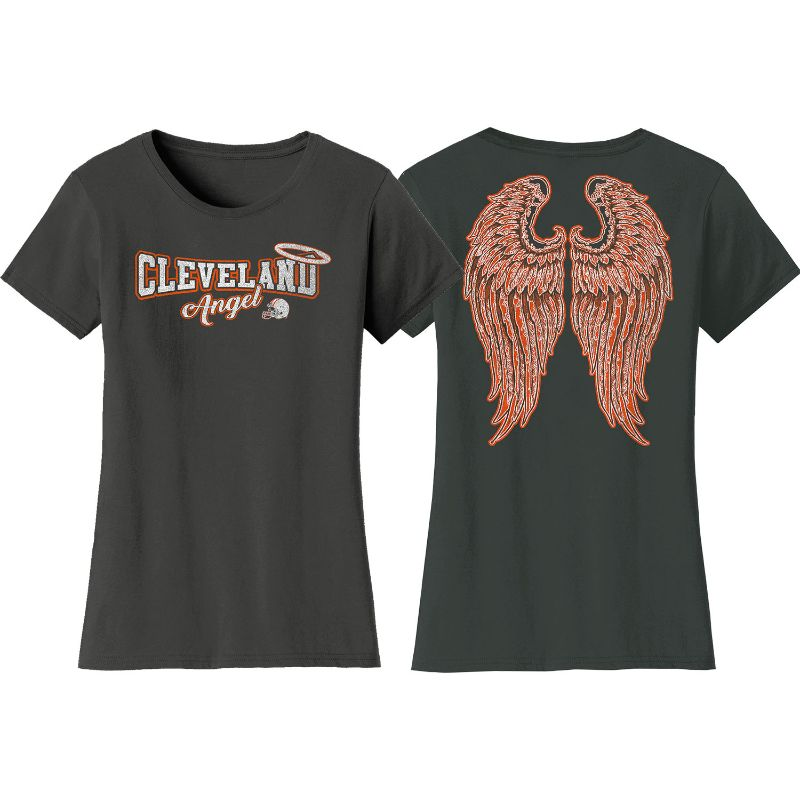 Women's Football Team Angel T-Shirt-S-Cleveland - Charcoal-Daily Steals