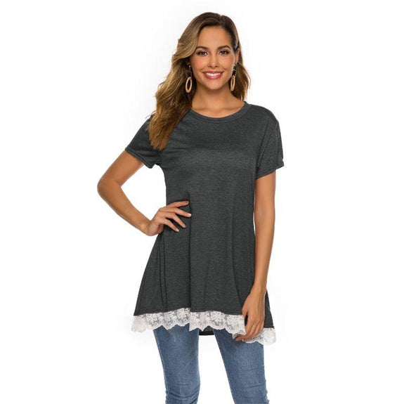 Women's Long Lace Trim Top by Lilly Posh-Dark grey-2XL-Daily Steals