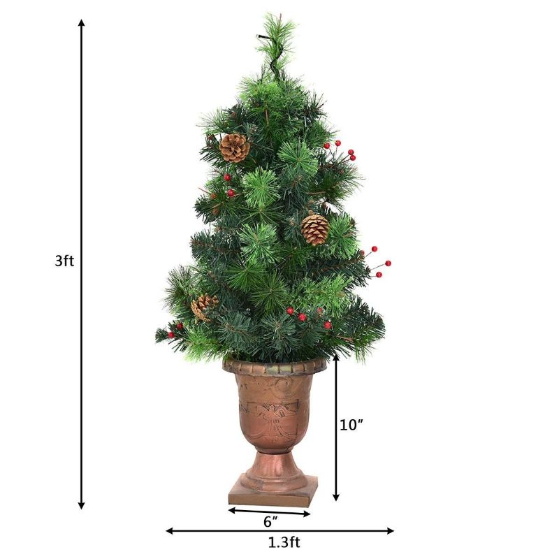 LED 3' Christmas Tree with Red Berries Pine Cones