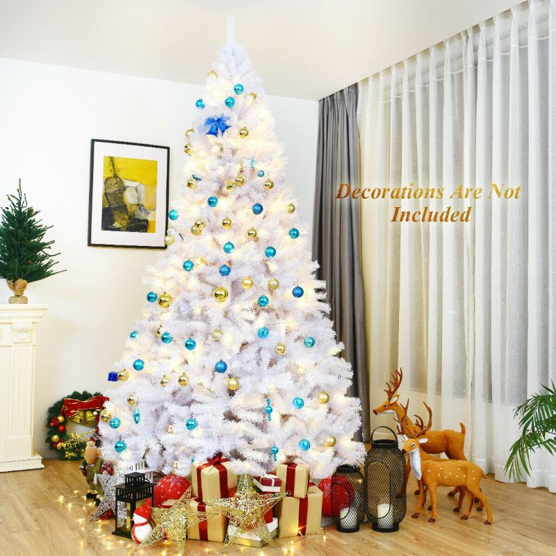 Hinged Artificial White Christmas Tree with Metal Stand 6', 7.5', or 9'
