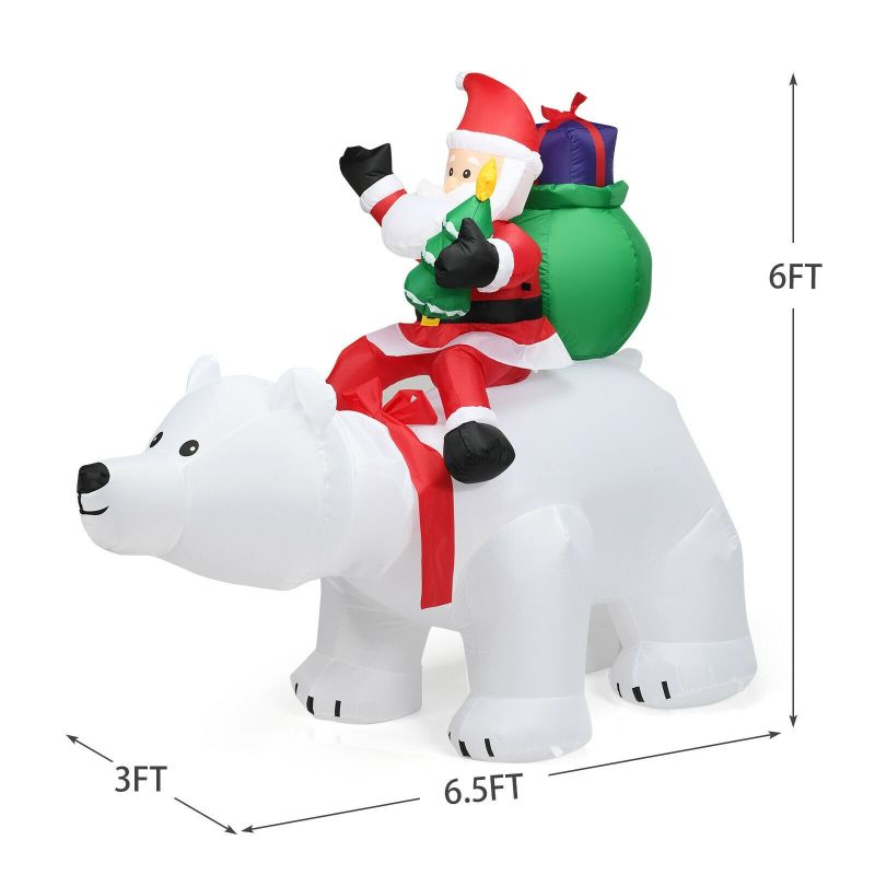 Inflatable 6.5' Head Shaking Polar Bear with Santa Lawn Christmas Decoration