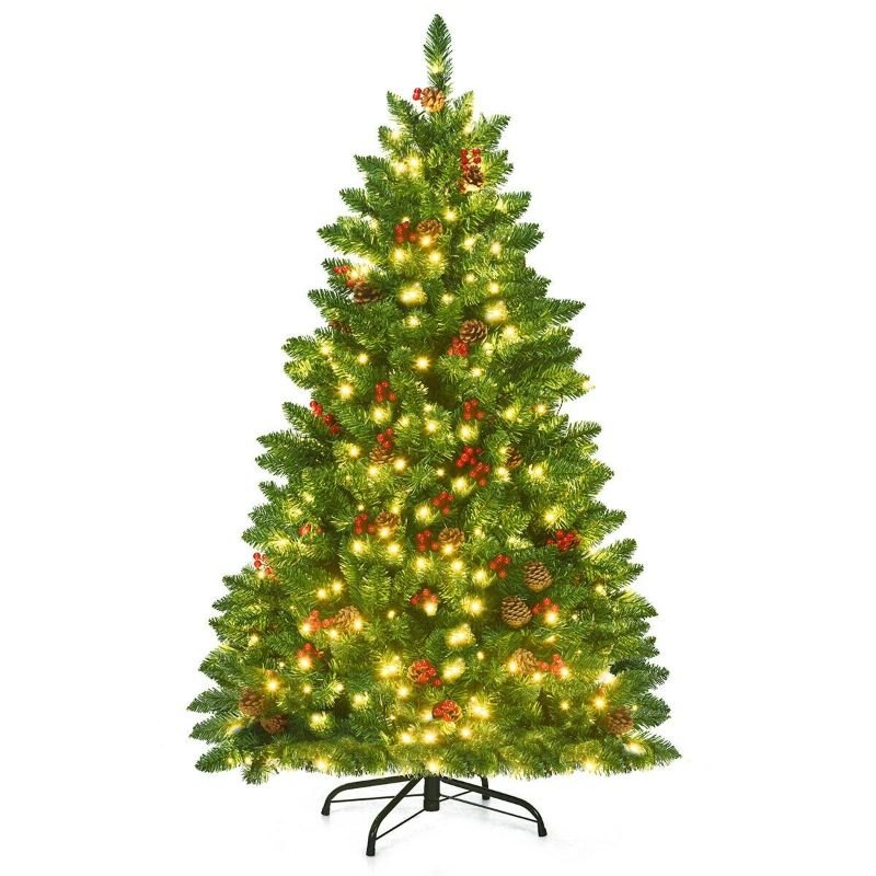 Pre-lit LED 4.5-Feet Hinged Christmas Tree with Pine Cones