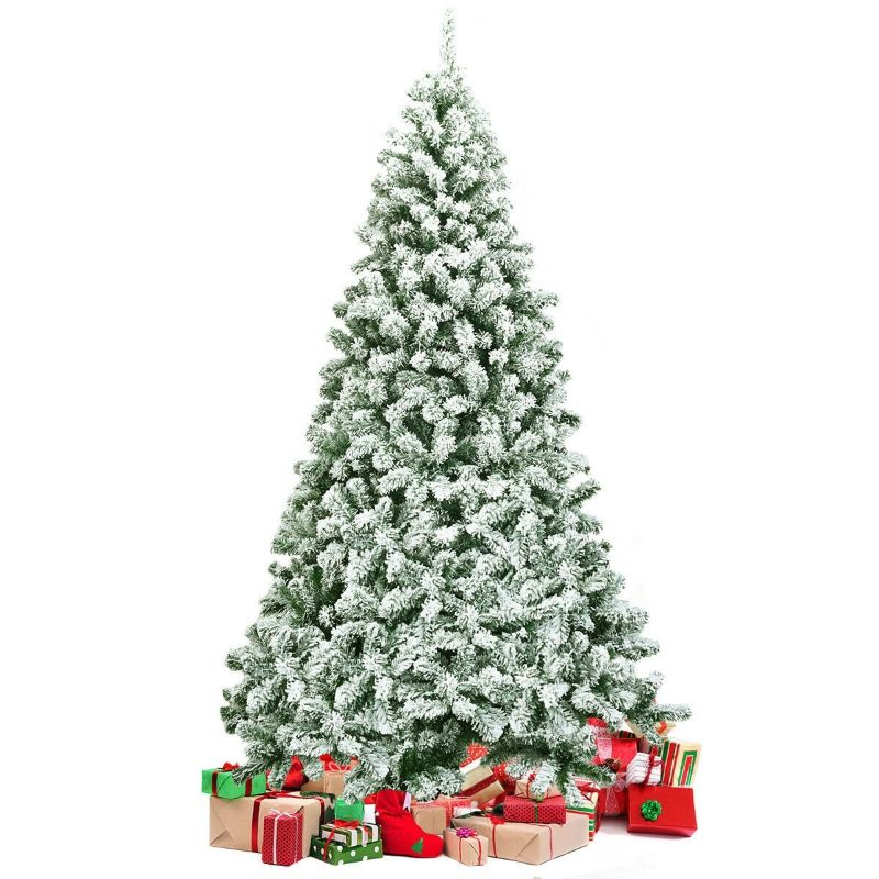 Snow Flocked Artificial Christmas Tree with Foldable Base