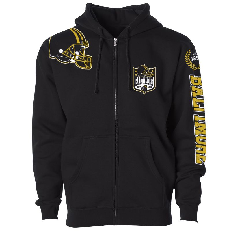 Men's Football Home Team Zip Up Hoodie-M-Baltimore-Daily Steals