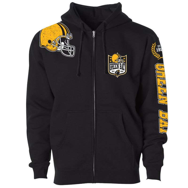 Men's Football Home Team Zip Up Hoodie-S-Green Bay-Daily Steals
