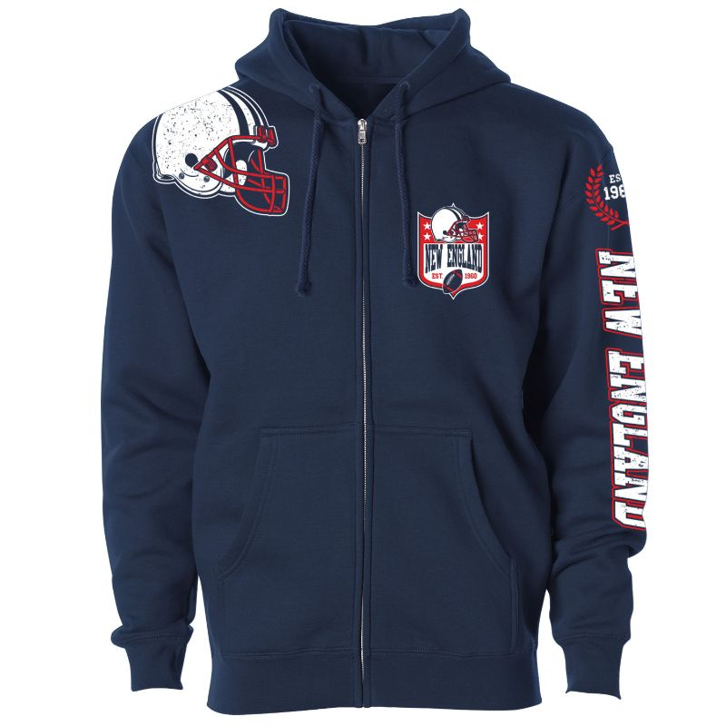 Men's Football Home Team Zip Up Hoodie-S-New England-Daily Steals
